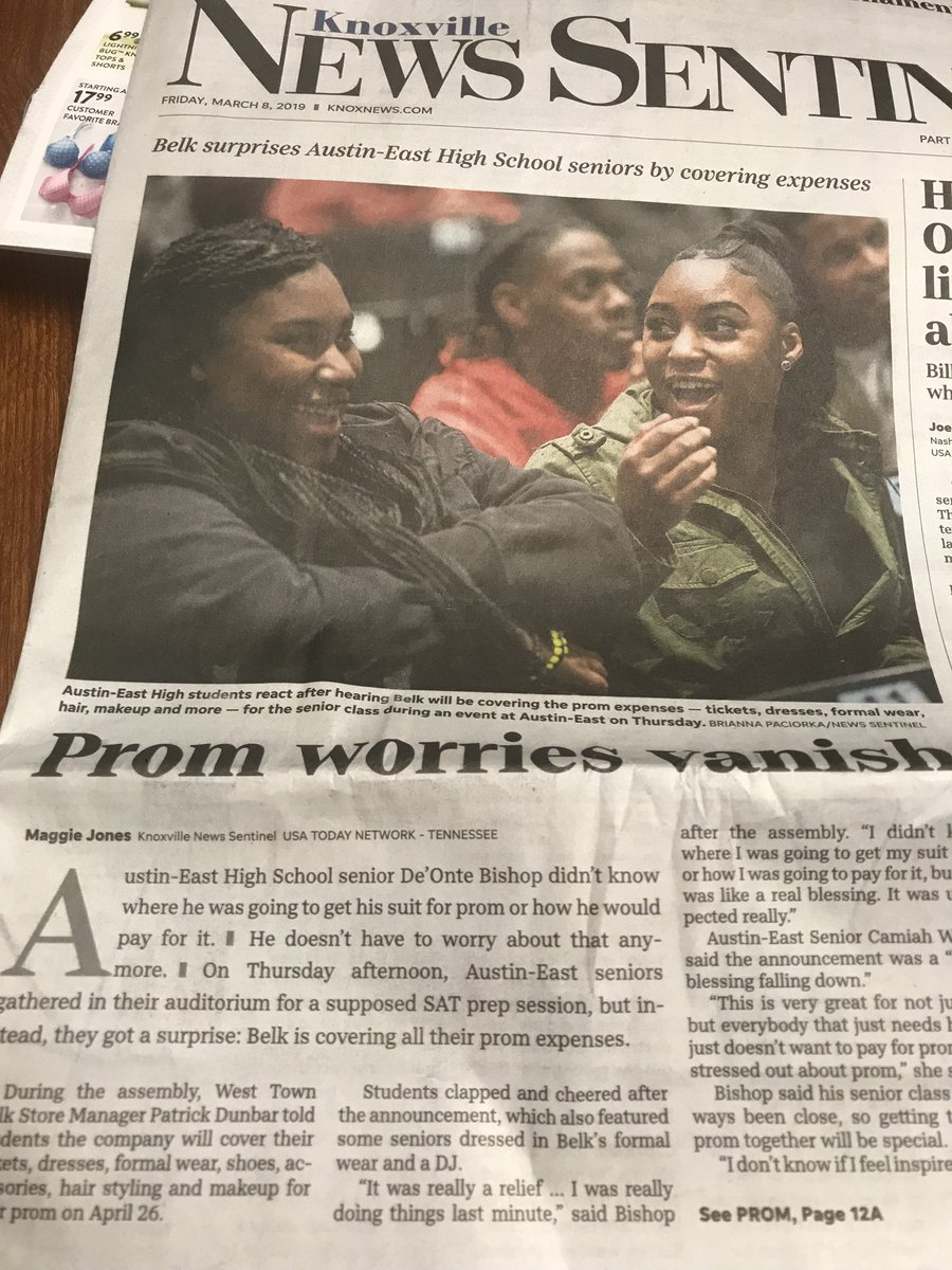 69238b5ddb3 Thank you  knoxnews for showing Knoxville the positive things happening at   AustinEastHS. We are super proud of our seniors and love that  belk wants  to be ...