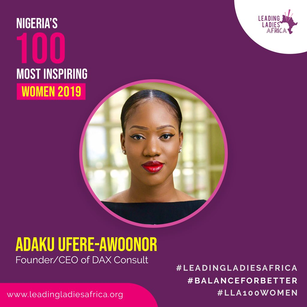 Very pleased to have been announced as one of Nigeria's #100 Most Inspiring Women. As Leading Ladies Africa curates their #LLA100Women list honouring phenomenal Nigerian women making a difference. Honoured to be recognised as a woman who is bringing value to the world. #IWD2019
