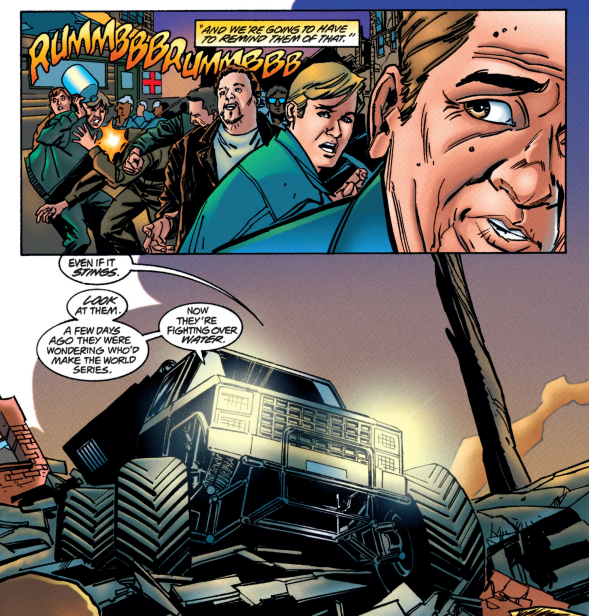 Vigilante Solutions Then Immediately In The Next Page He Drives A Monster Truck Sprays Down People Who Want Water With Turpentine And Literal Bat