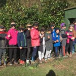 Group 2 trying to avoid the mud on sensory trail