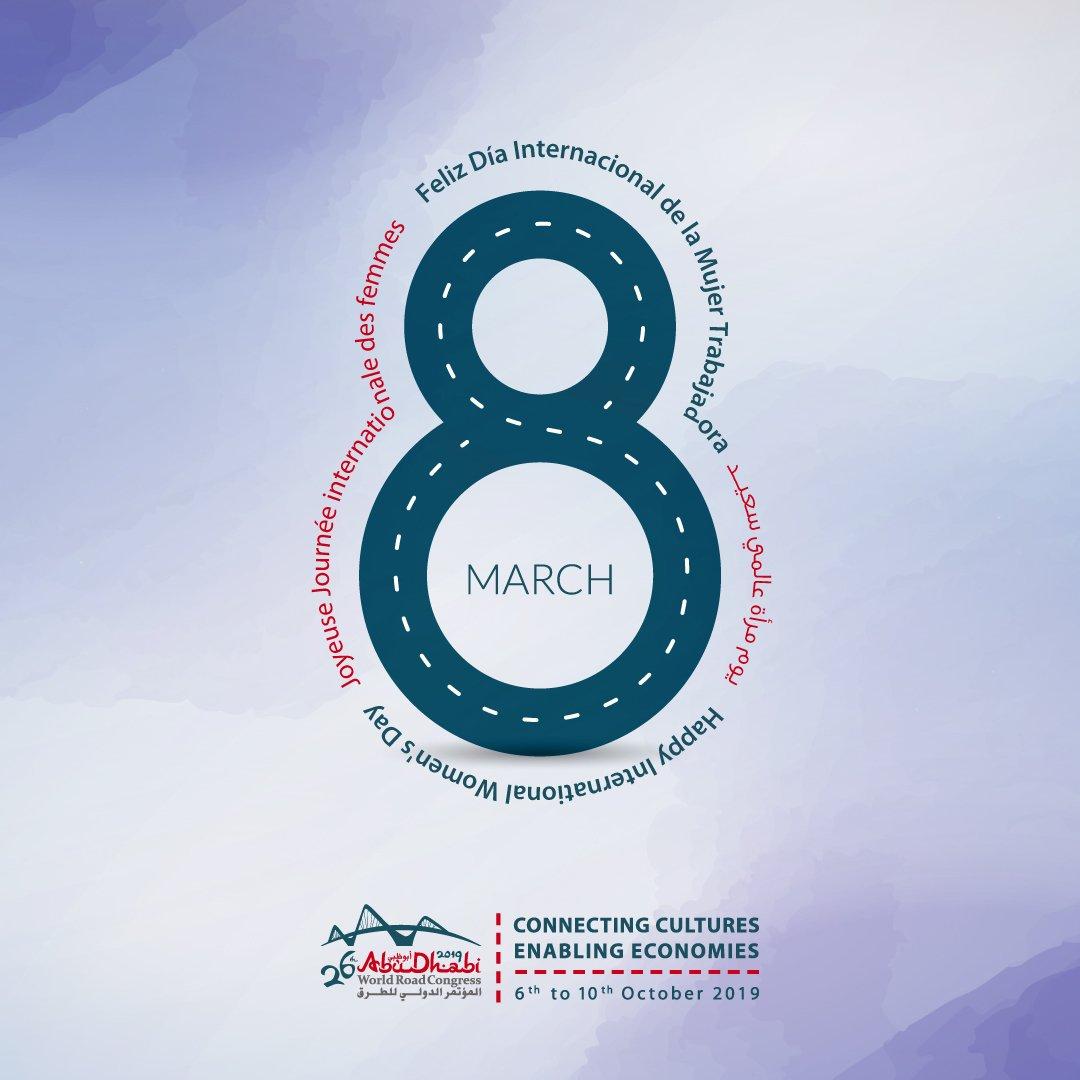 """Para la #DíaInternacionaldelaMujer, el #CongresoMundialdelaCarretera le invita a la Sesión """"El transporte no es un sector de género neutro"""" #AbuDabi #PIARCWRC2019 @AbuDhabiDoT @PIARC_Roads http://www.piarcabudhabi2019.org"""