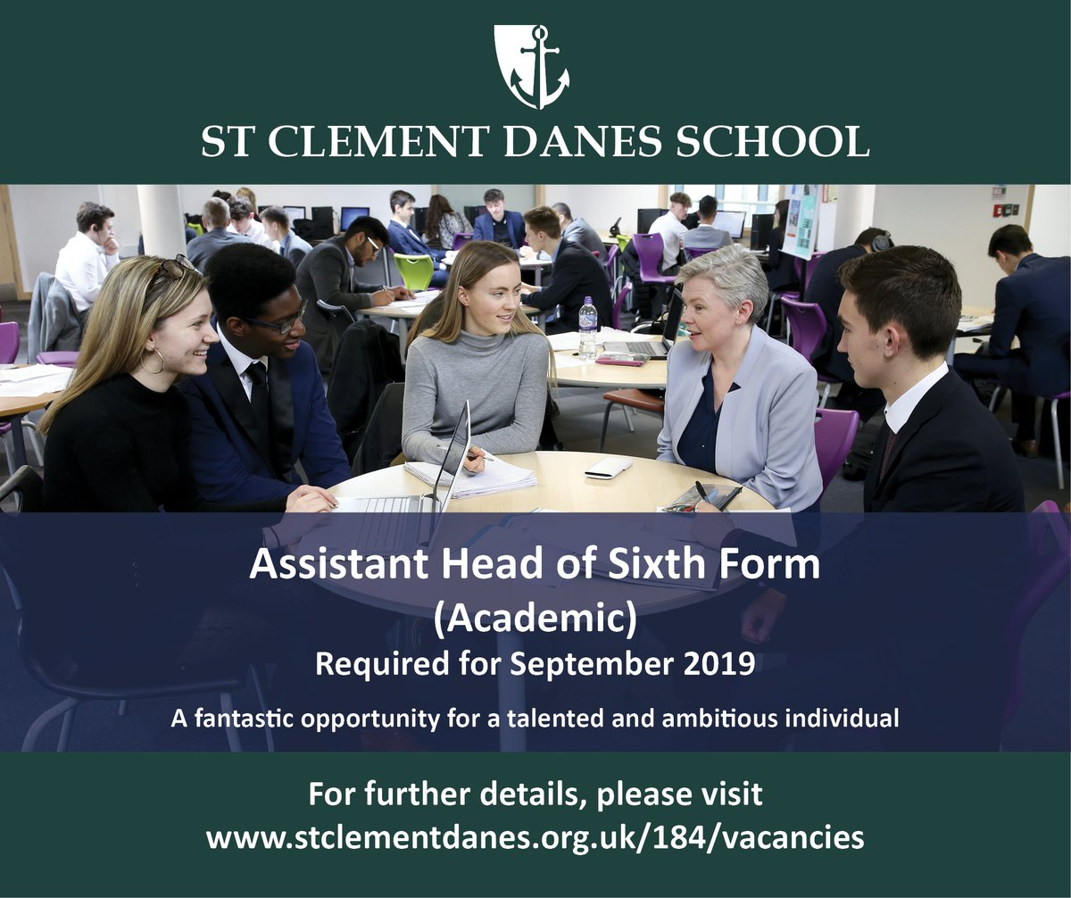 Fantastic opportunity to join our oversubscribed 'World Class' school as Assistant Head of Sixth Form (Academic). Closing date:  22nd March. Details: https://t.co/x2NU4DD5no #teachingvacancyuk #teachingjobs https://t.co/2KSDTFq8Pc