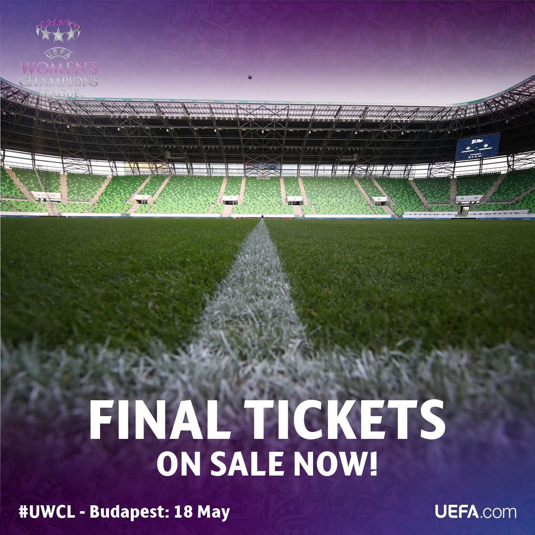 #UWCL final: 18 May, @Fradi_HU stadium, Budapest🏆  TICKETS ON SALE NOW🎟 👇 http://bit.ly/2019UWCLtickets  #InternationalWomensDay