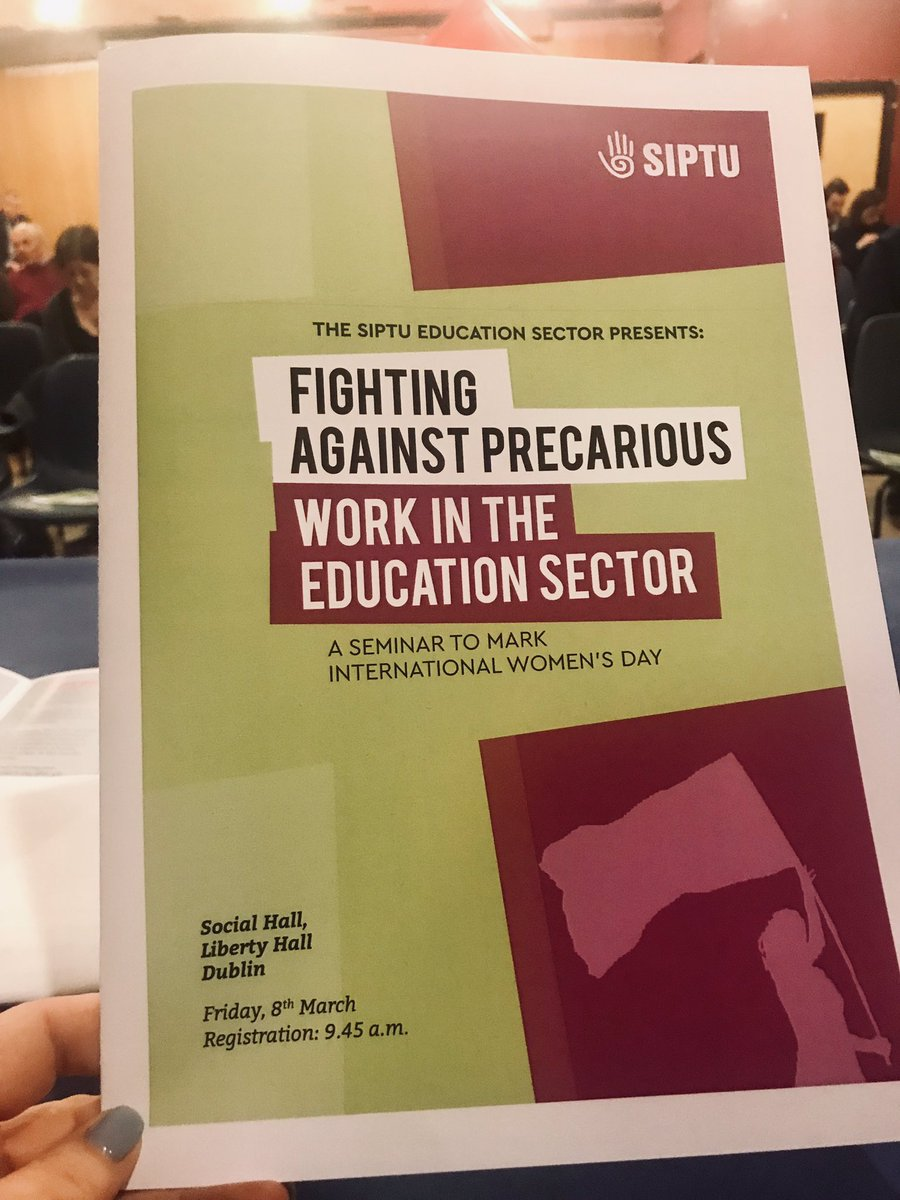 SIPTU's #IWD seminar is underway in Liberty Hall. Continuing our organising campaign against intersectional challenges to #decentwork of discrimination against women workers and the increase in precarious work in Higher and Further Education #IWD19 #ourSiptu