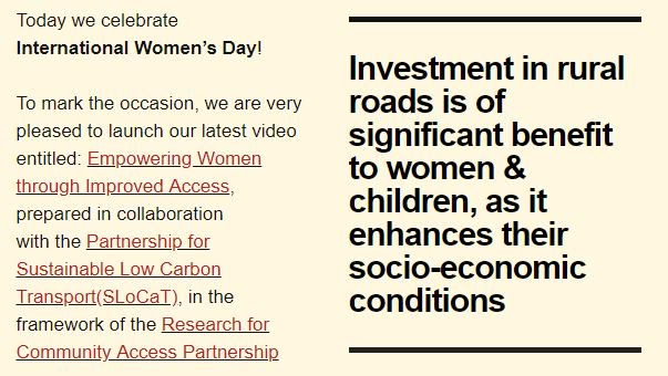 Investment in #rural #roads is of significant benefit to #women & children, as it enhances their socio-economic conditions. We have launched a 📽️ campaign with @SLoCaTOfficial & @Research4CAP on Empowering Women Through Improved Access #IWD2019 Check out  http://bit.ly/2ST7Meq