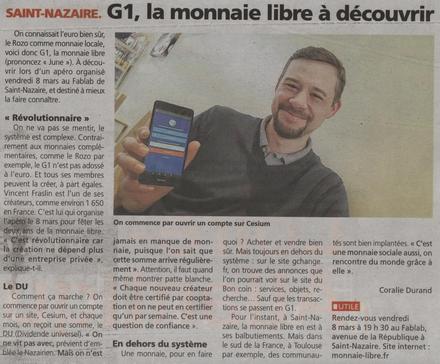 La Ğ1 débarque à Saint Nazaire, bel article. #monnaielibre #Ğ1 #TRM #Duniter #revenudebase