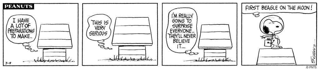 Snoopy takes an unforgettable trip in a series of strips first published 50 years ago this week, on March 8–15, 1969. The storyline follows the determined beagle in his mission to the moon and back. Follow Snoopy's journey over the next few days! #FirstBeagleontheMoon