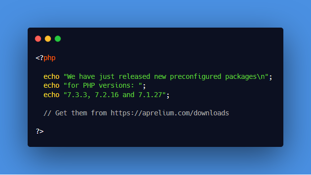 Get the latest preconfigured PHP 7.3.3 package for #macOS  and #Windows from https://aprelium.com/downloads