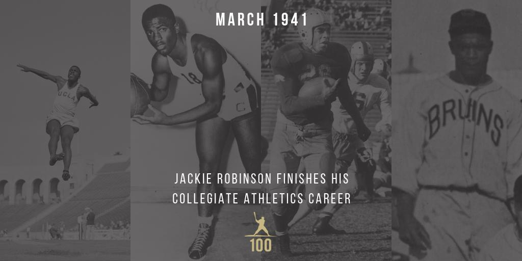 March 1941 | Jackie Robinson finishes his collegiate athletics career by leading the league in scoring for the UCLA basketball team with 133 points in his final season. #JackieRobinson #JR100