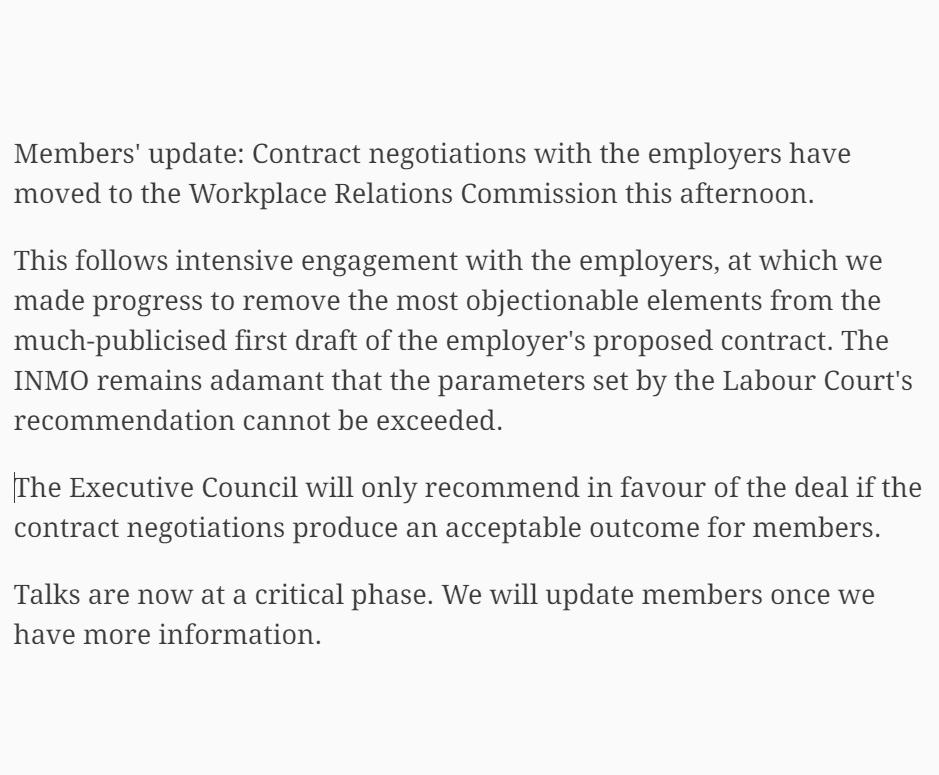 Update for members: contract talks have moved to the Workplace Relations Commission