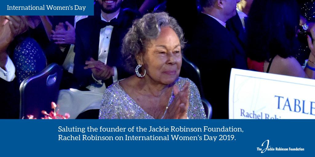 What better day than International Women's Day to remind everyone that without Rachel Robinson there would be no Jackie Robinson Foundation? Today we salute #JRFoundation founder, Rachel Robinson. #JackieRobinson #JR100 #IWD2019