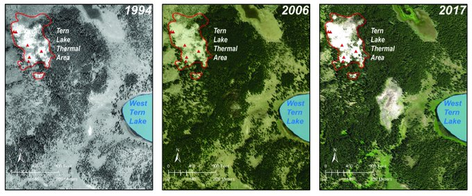Air photos from 1994, 2006, and 2017.  The thermal area that is present in the center of the 2017 image is expressed only as a few dying trees in the 2006 image, and it is not present at all in the 1994 image.