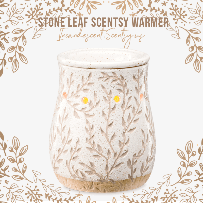 Scentsy Stone Leaf Warmer Etched Leaves Mingle With Inching Vines