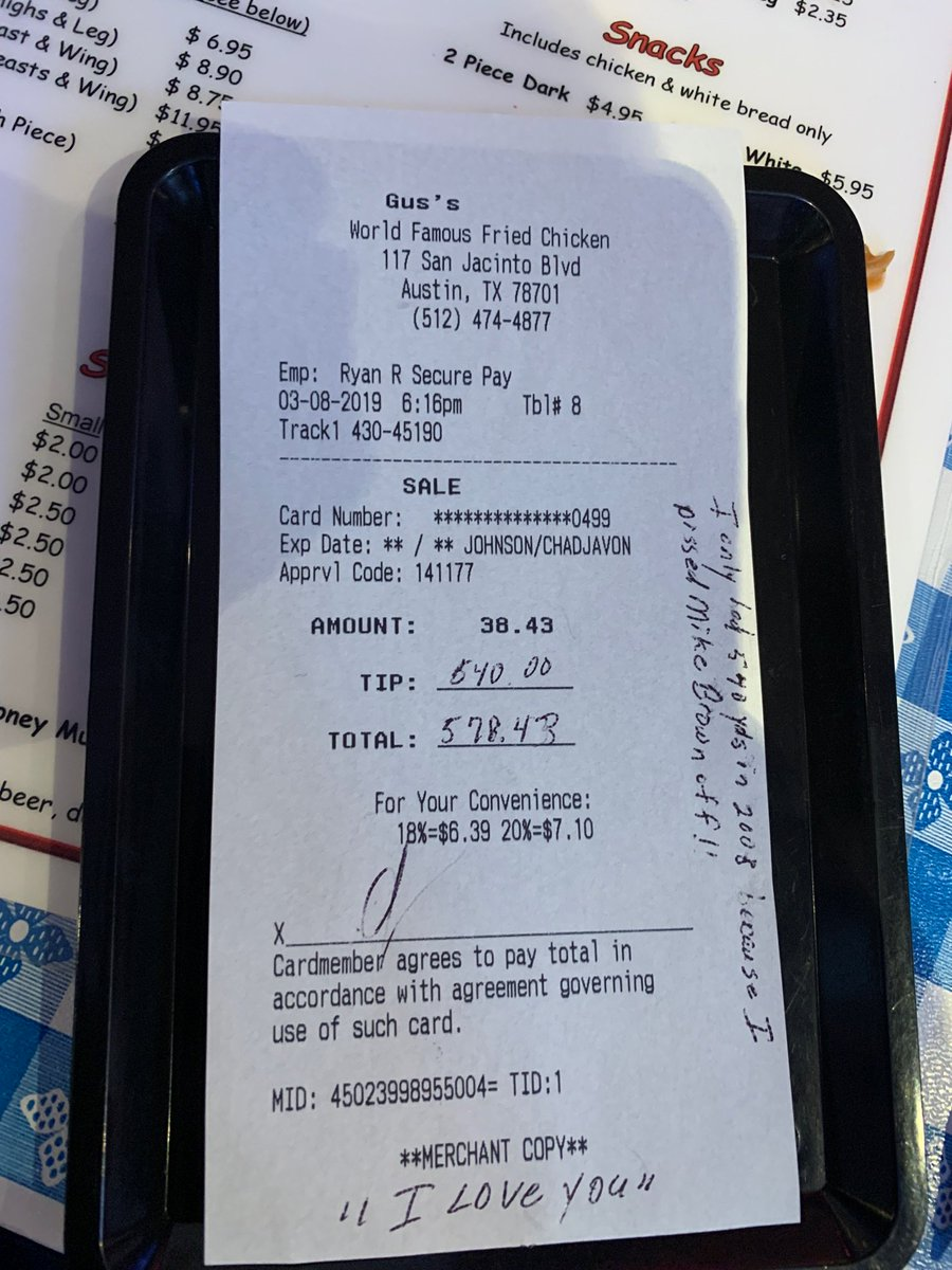 Chad Johnson is leaving wonderful notes with his generous tips