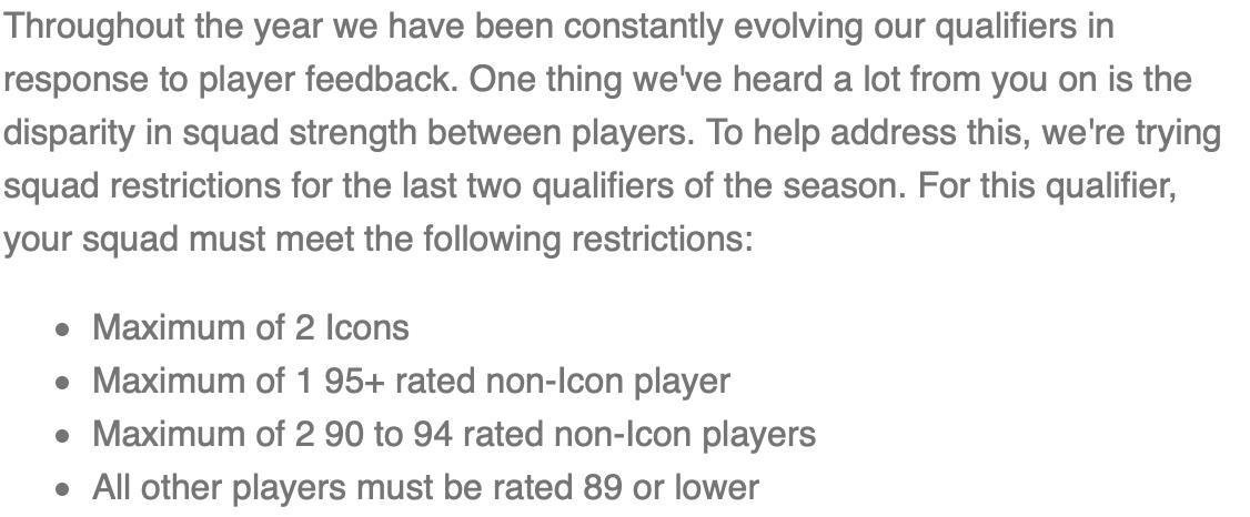 Pro players were just sent this email ⬇️  It details restrictions on the teams they can use for qualifiers.  Kick in the teeth for those that have invested substantial $ to get the best players.  Good idea, poor timing.  Pros should be given unlocked accounts for the qualifiers.