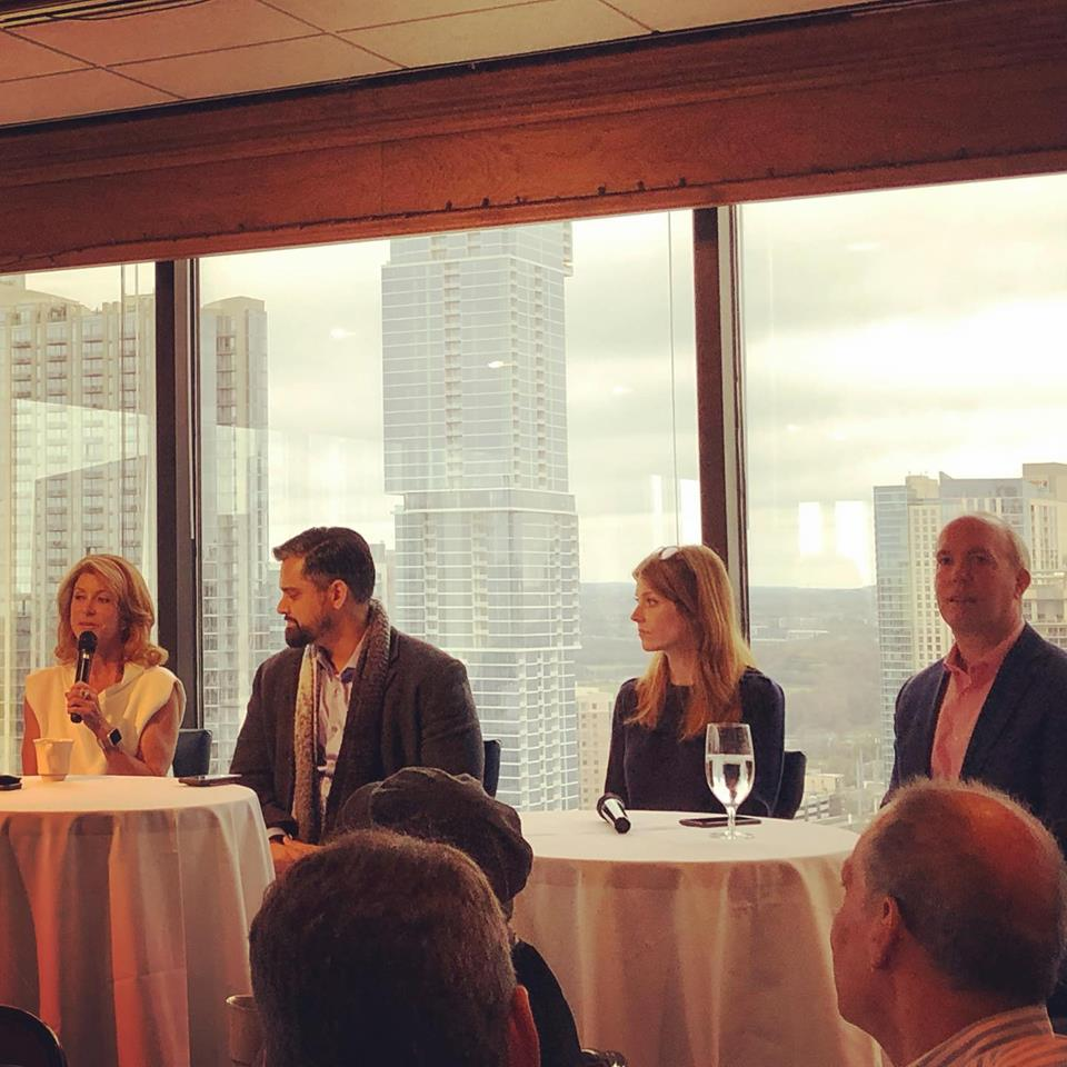 Feminist powerhouse @wendydavis on the 🎤 this morning at @BlueSquadSocial's Technology in Politics event.  She's sitting next to 2018 Congressional candidates @SriPKulkarni, @JulieOliverTX, and @JosephKopser. It's mind blowing how talented these people are. #bluetsunami2020
