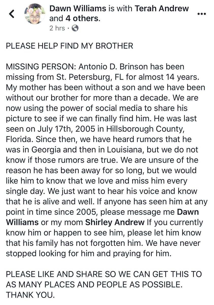 PLEASE RT TO HELP MY FAMILY REUNITE WITH MY UNCLE! Antonio Brinson has been missing for 14 years. He was last seen in Hillsborough County, FL in 2005 &amp; was rumored to possibly have been in GA and LA at some point. We all miss him very much. Please DM me if u know anything at all <br>http://pic.twitter.com/Nlhq7eOcqH