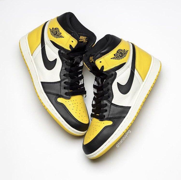 "67410dd194f2 Detailed Look at the upcoming Air Jordan 1 Retro High OG ""Yellow Black Toe ""pic.twitter.com PuCdd0YgJk"