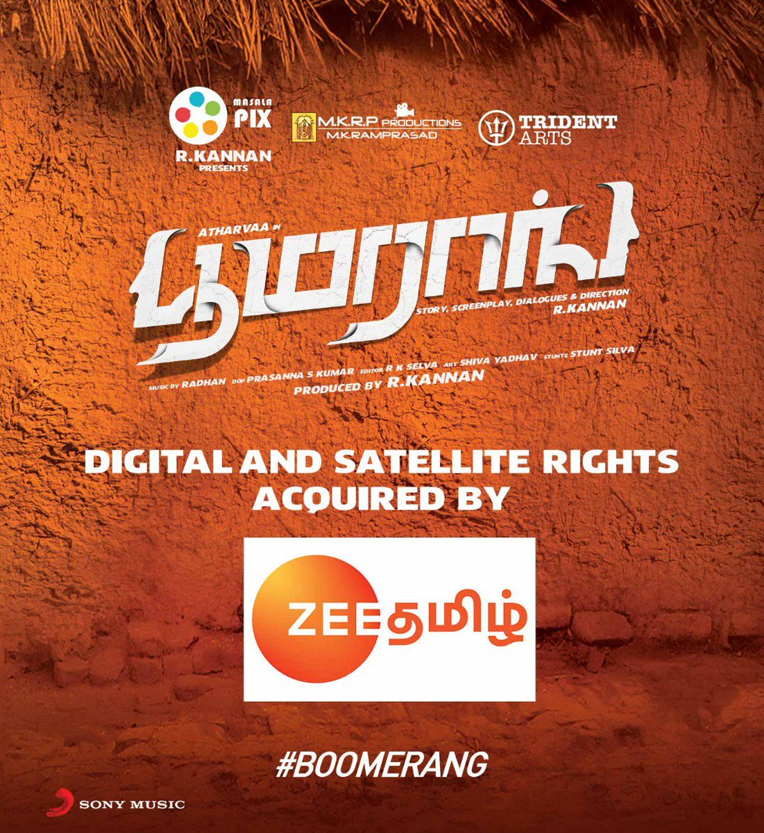 Boomerang Digital And Satellite Rights Acquired By @ZeeTamil   #Boomerang  @Atharvaamurali @RJ_Balaji @akash_megha @actorsathish @radhanmusic @Actress_Indhuja @Dir_kannanR @SonyMusicSouth @tridentartsoffl @DoneChannel1 @digitallynow