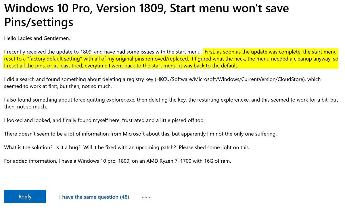 """1809 Menu gary blok [garytown] on twitter: """"#windows10 1809, start"""
