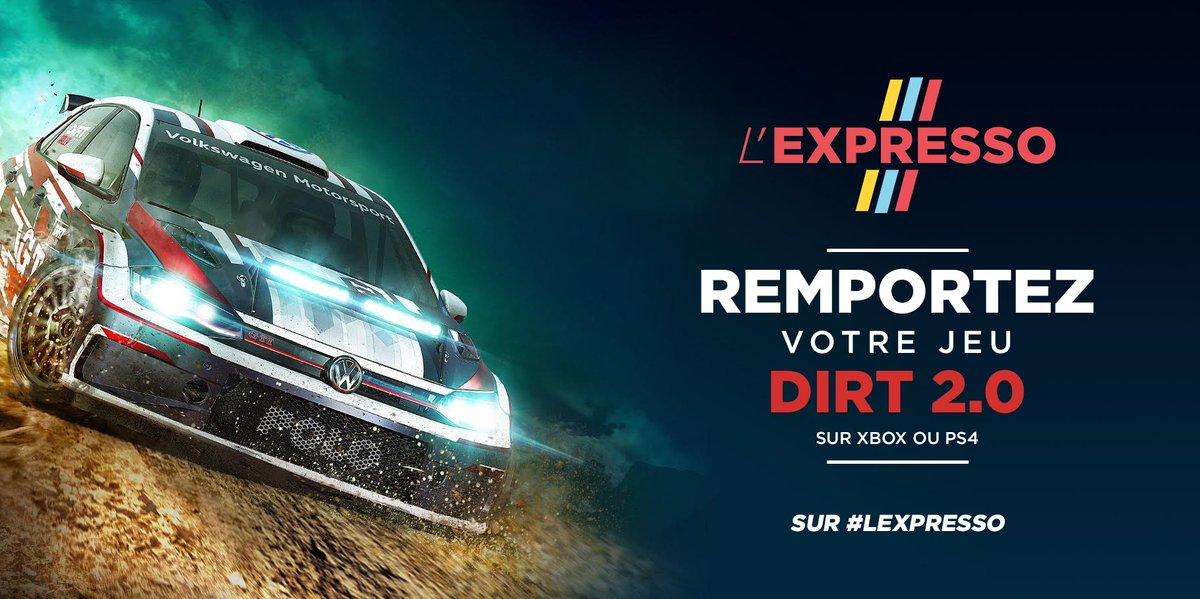 🚨🎁 Follow @l_expresso et RT ce post avec en commentaire #PS4 ou #xbox pour tenter de gagner le jeu Dirt 2.0 🎮 #Lexpresso