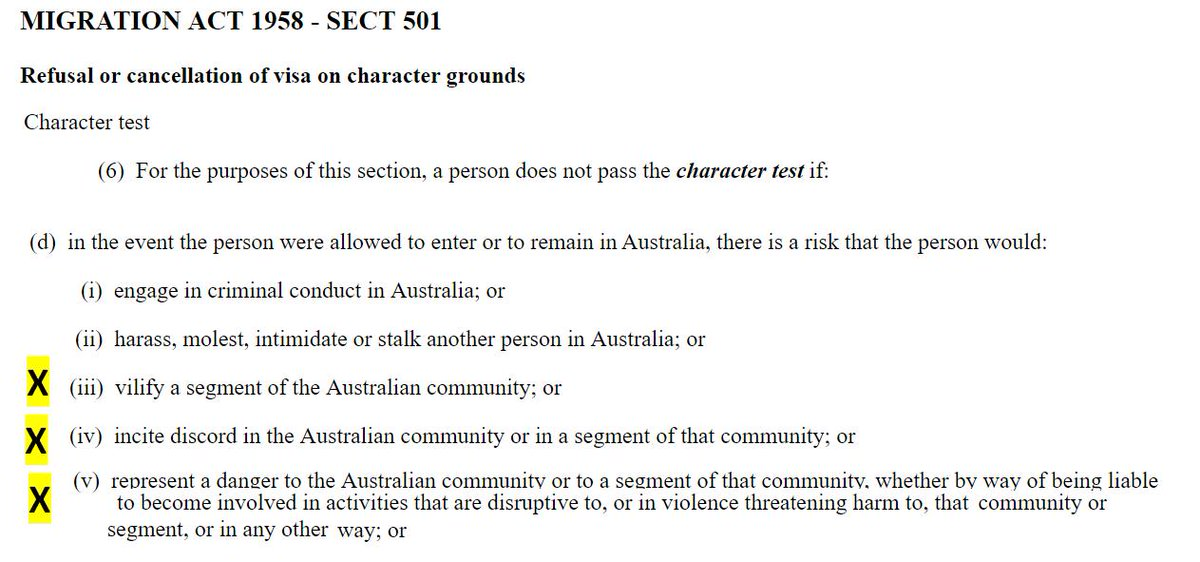 Dear Immigration Minister @DavidColemanMP under the Immigration Act considering your knowledge of the content of Milo Yiannopoulos&#39; previous tour &amp; comments he made in public forum how are you applying the character test to your desicion on his visa application?  #Auspol #NOMilo <br>http://pic.twitter.com/fU8b42w8FR