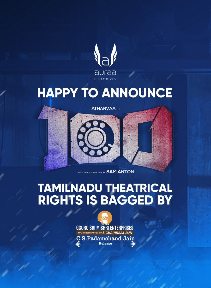 #100Movie Tamilnadu Theatrical Rights Acquired By #MishriEnterprises @cskishan   @AtharvaaMurali @ihansika @samanton21@samcsmusic @dhilipaction @iyogibabu @donechannel1 @VanquishMedia__
