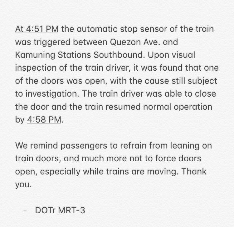 READ: MRT-3 management statement on the door malfunction earlier Saturday. | via @kevinmanalo_