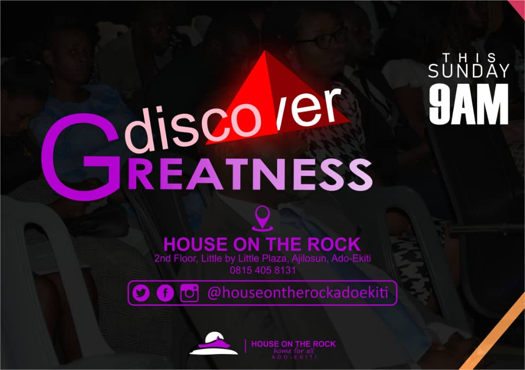 Worship woth us at House on the rock, Ado-Ekiti and discover greatness.  #houseontherock  #houseontherockworri #houseontherockph  #houseontherockabuja  #houseontherockchurch  #houseontherockasaba  #houseontherockuyo  #houseontherocklagos  #houseontherockenugu  #houseontherockabapic.twitter.com/UvfuCHWr5f