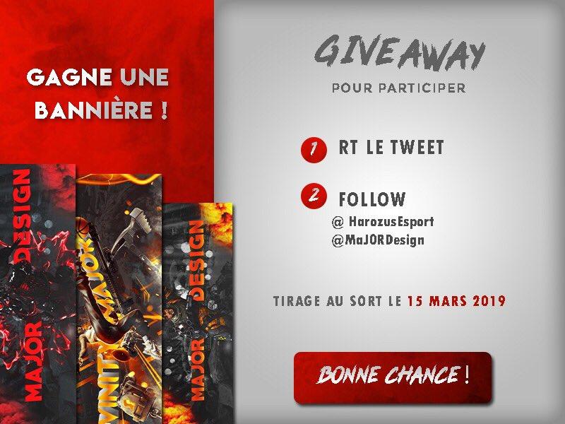 🎁 #Concours  👉 Tentez de remporter l'une de ces trois bannières personnalisées par @MaJ0RDesign sur les jeux #fortnite & #ApexLegends   🔸 Pour tenter votre chance :   1) #RT ce tweet 2) Follow @harozusEsport &   @MaJoRDeslgn   TAS 15/03
