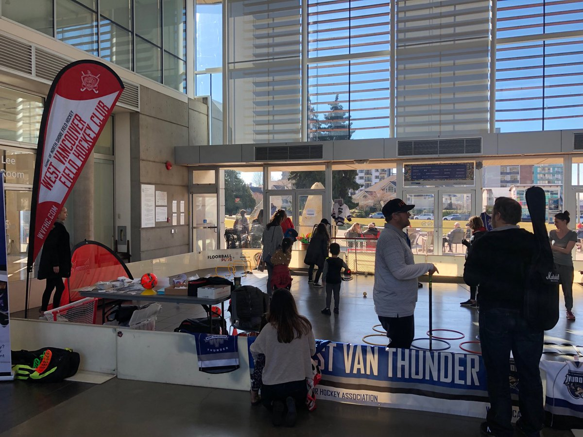 Participating in #WestVan multi sport presentation and obstacle course at @WestVanRec community centre with @WVFHC @WVSC1 @FloorballPlus & WV Track @BCHockey_Source #GrowTheGame