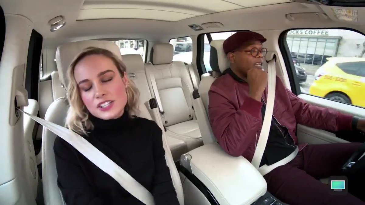 If @brielarson and @samuelljackson singing @arianagrande's #7rings isn't a mood, I don't know what is.  Watch the @captainmarvel stars in a hilarious #CarpoolKaraoke now on your @appletv app! http://apple.co/Carpool_Karaoke216 …