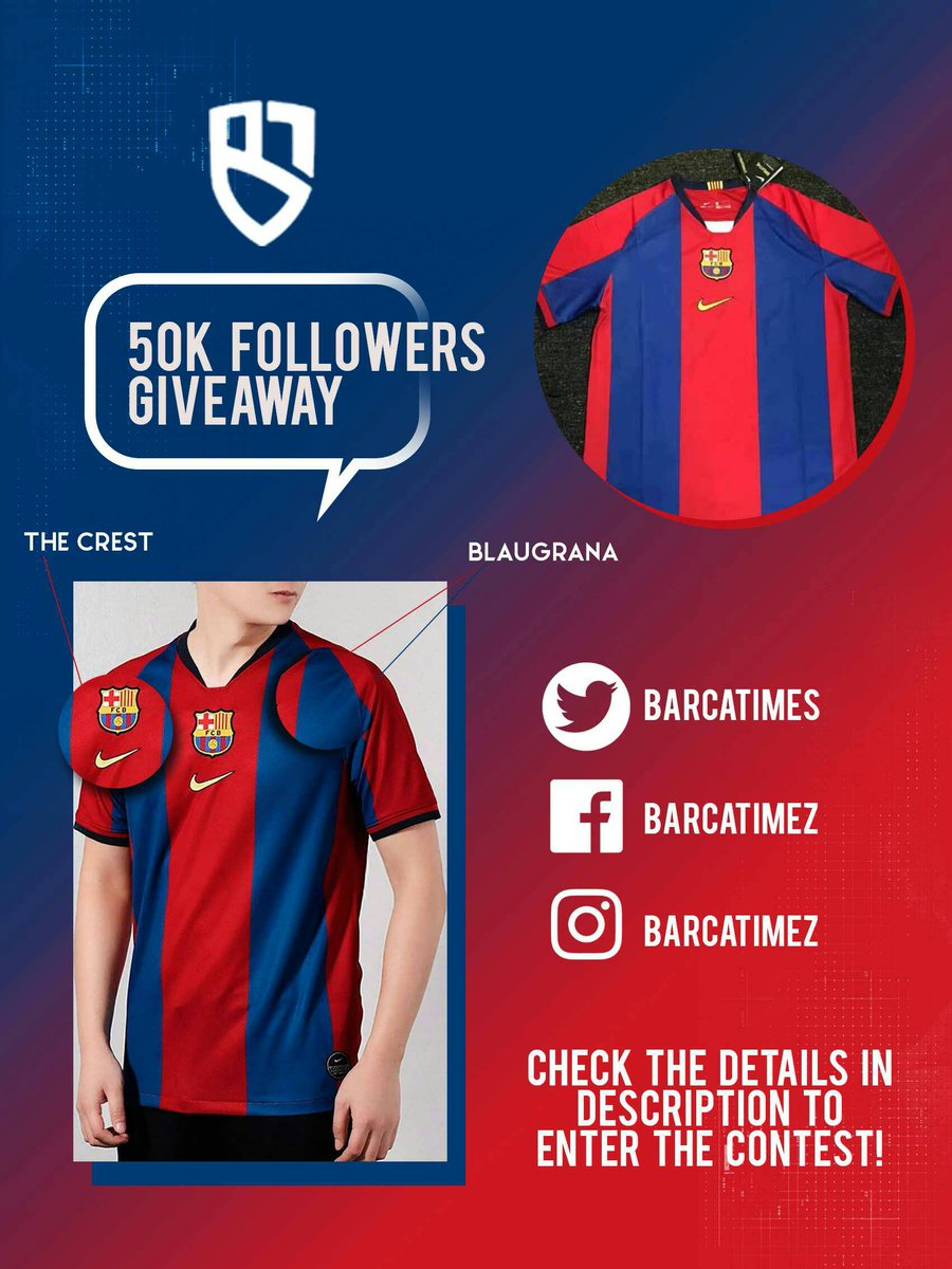 🎉 GIVEAWAY: Barca Times is close to hit 50K followers. As a thanksgiving we are giving away a Barça 1998-1999 retro jersey to a lucky winner!  To enter, you must follow us on Twitter (@BarcaTimes) and retweet this tweet.  Winner will be announce on the day we reach 50K.