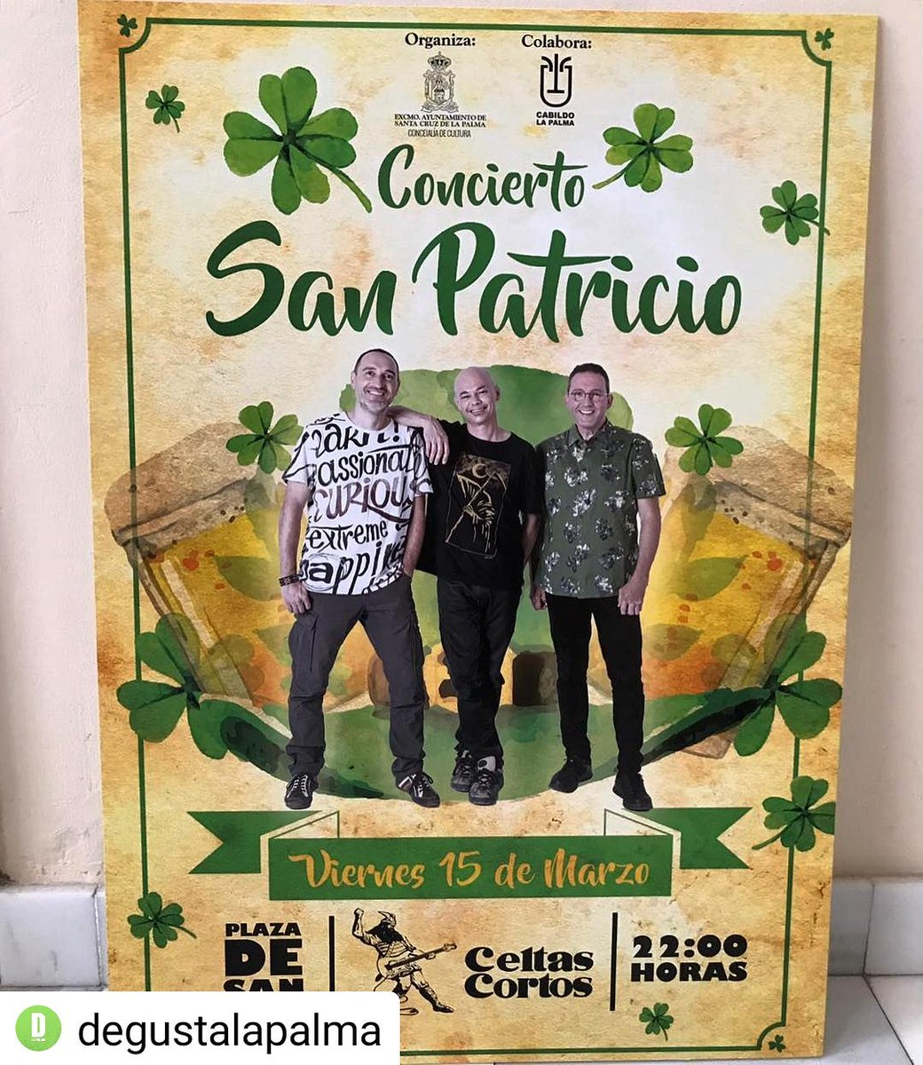#Repost @degustalapalma •  •  •  •  • La Plaza de San Francisco acogerá el concierto de @celtascortos en Santa Cruz de La Palma por las #FiestasdeSanPatricio2019 en #SantaCruzdeLaPalma #LaPalma #degustalapalma #culturalapalma #conciertoscanarias #celtascortos #canaryislands