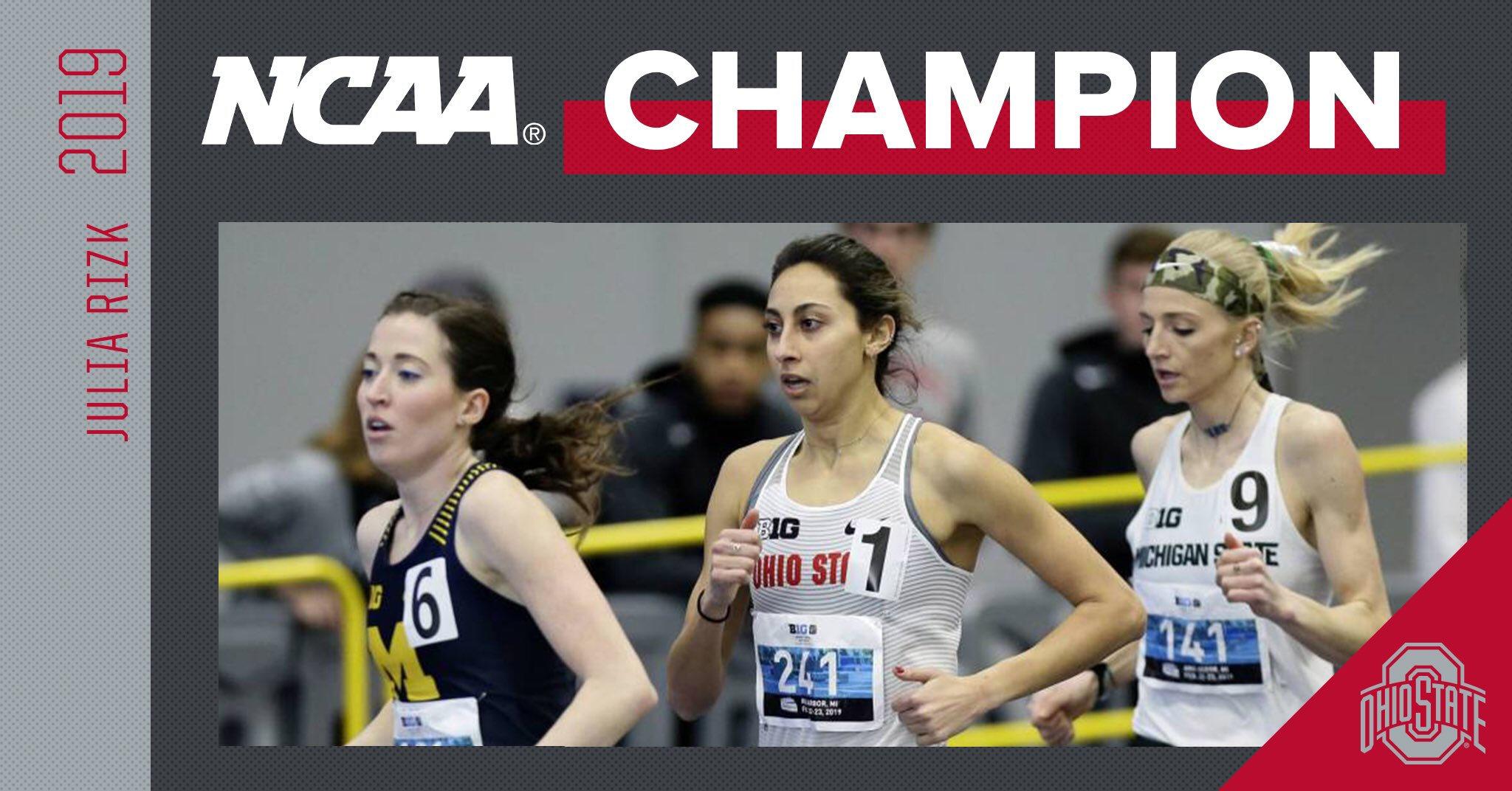 Julia Rizk wins a national title in the mile.