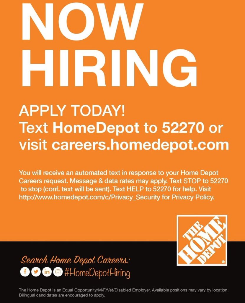Stop In At The Latham Farms Home Depot For An Interview March 21st From 10am 7pm Walk Ins Welcome Seasonal And Part Time Positions Available