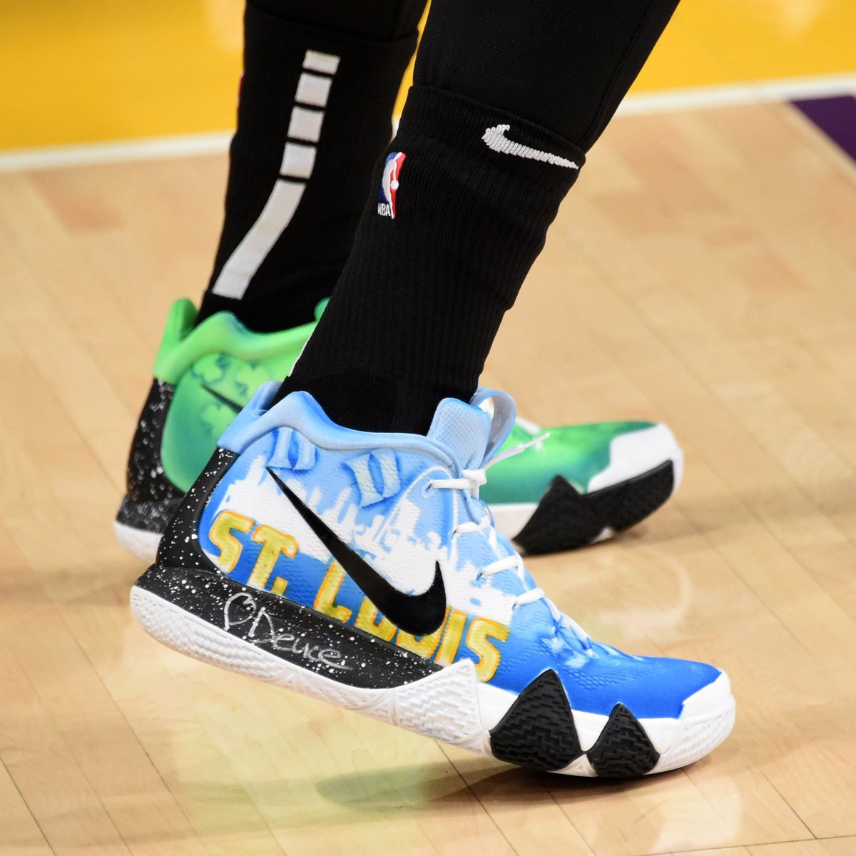 368da635f58 rocking custom nike kyrie 4s shouting out his hometown of st louis and alma  mater duke