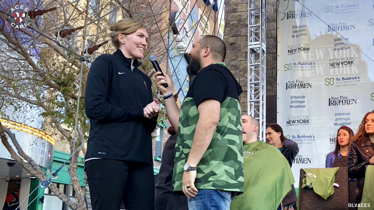 """We had the pleasure of being a part of """"Brave a Shave"""" for the second year in a row and helped raise $320,000 so far for the @StBaldricks Foundation! Come down to the Brooklyn Bridge @NYNYVegas and support! What do you think of @CarolynSwords' skills with the clippers? #AcesCare"""