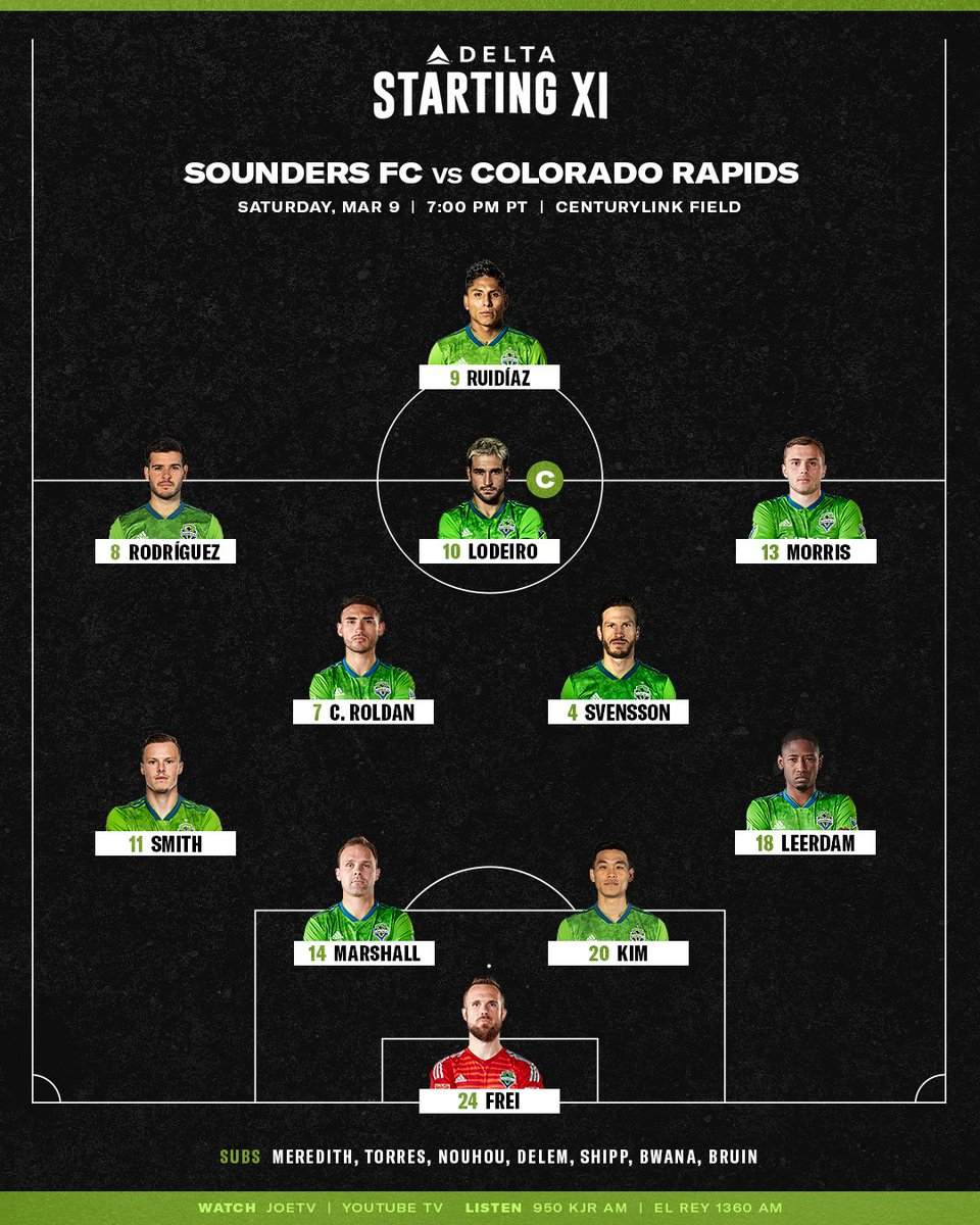 Seattle Sounders Fc On Twitter Here S Your Delta Starting Xi For Tonight S Match Vs Coloradorapids Tune In To Joetv Or Youtube Tv For Seavcol At 7 P M Pt Https T Co Milx82tzmw Https T Co 9cdmscvvmu