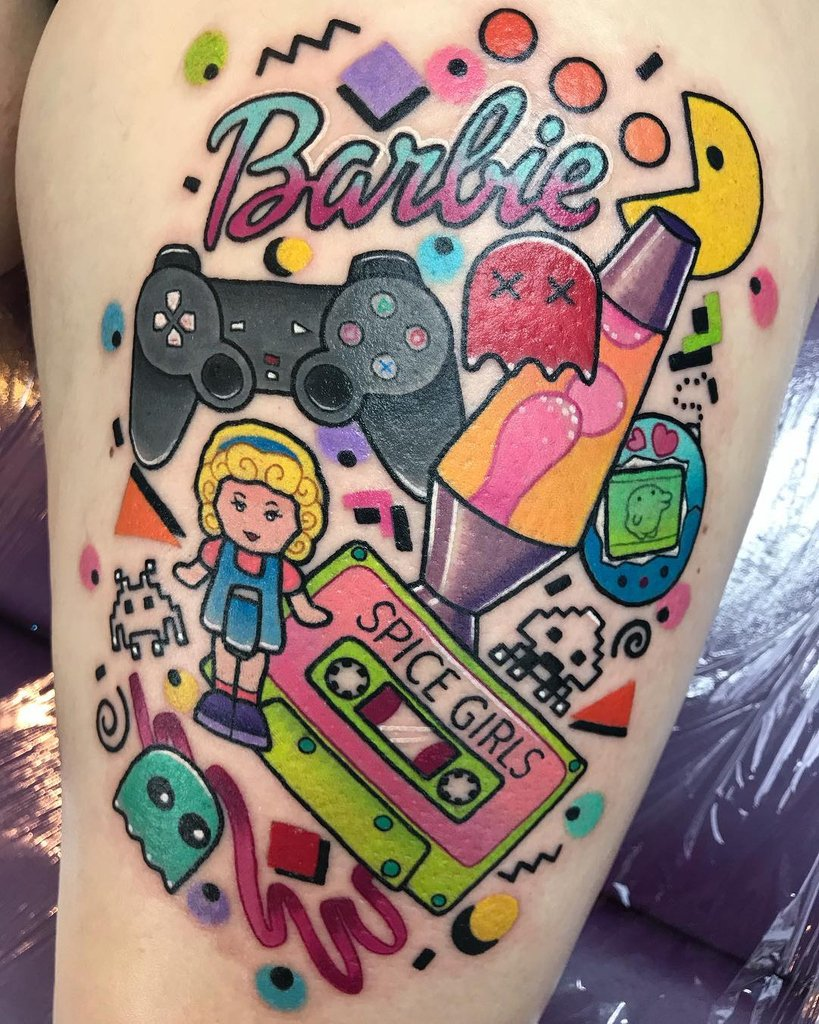 #Tattoo Awesome of the Day: Colorful #Pacman #SpiceGirls #LavaLamp #Barbie #SpaceInvaders & More #Geek Piece via @toofastonline #SamaTattoo #SamaGeek 🤓