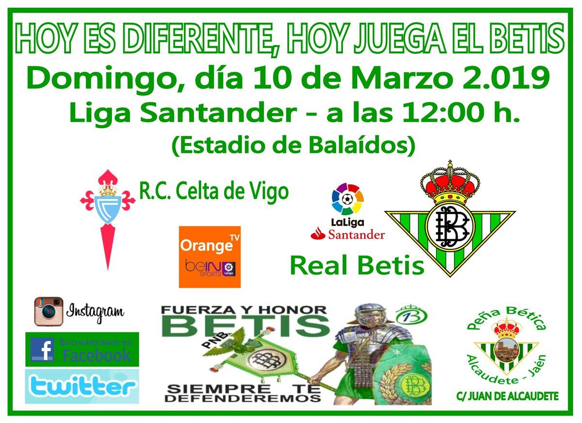 Hoy es diferente, hoy juega el Betis. 27º Jornada de la liga Santander 18/19 Vente a verlo a la peña!!! C/ Juan de Alcaudete. R.C. Celta de Vigo. - Real Betis Balompíe. (Estadio de Balaídos)