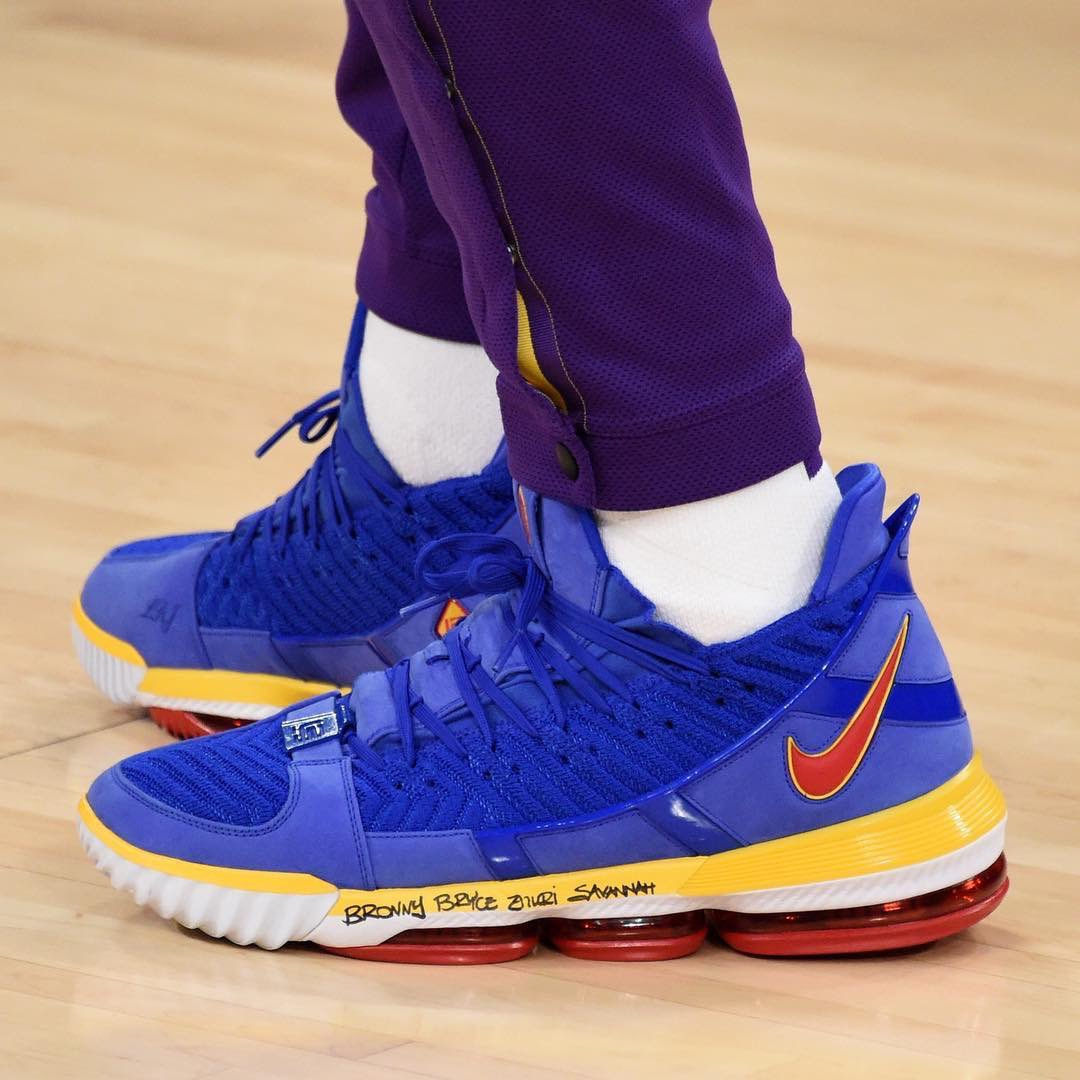 sports shoes b5142 e27dc lebron james in the blue superbron nike lebron 16 tonight in la adam  pantozzi nbae via