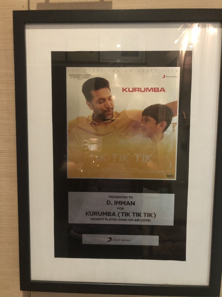 Wishing the maker of many innovative projects @ShaktiRajan Happy Birthday! wishing you only joy n success!! My prayers sir! On this day love to thank @SonyMusicSouth for framing the achievement of #Kurumba song from #TikTikTik as the highest played song on air #2018 Praise God!