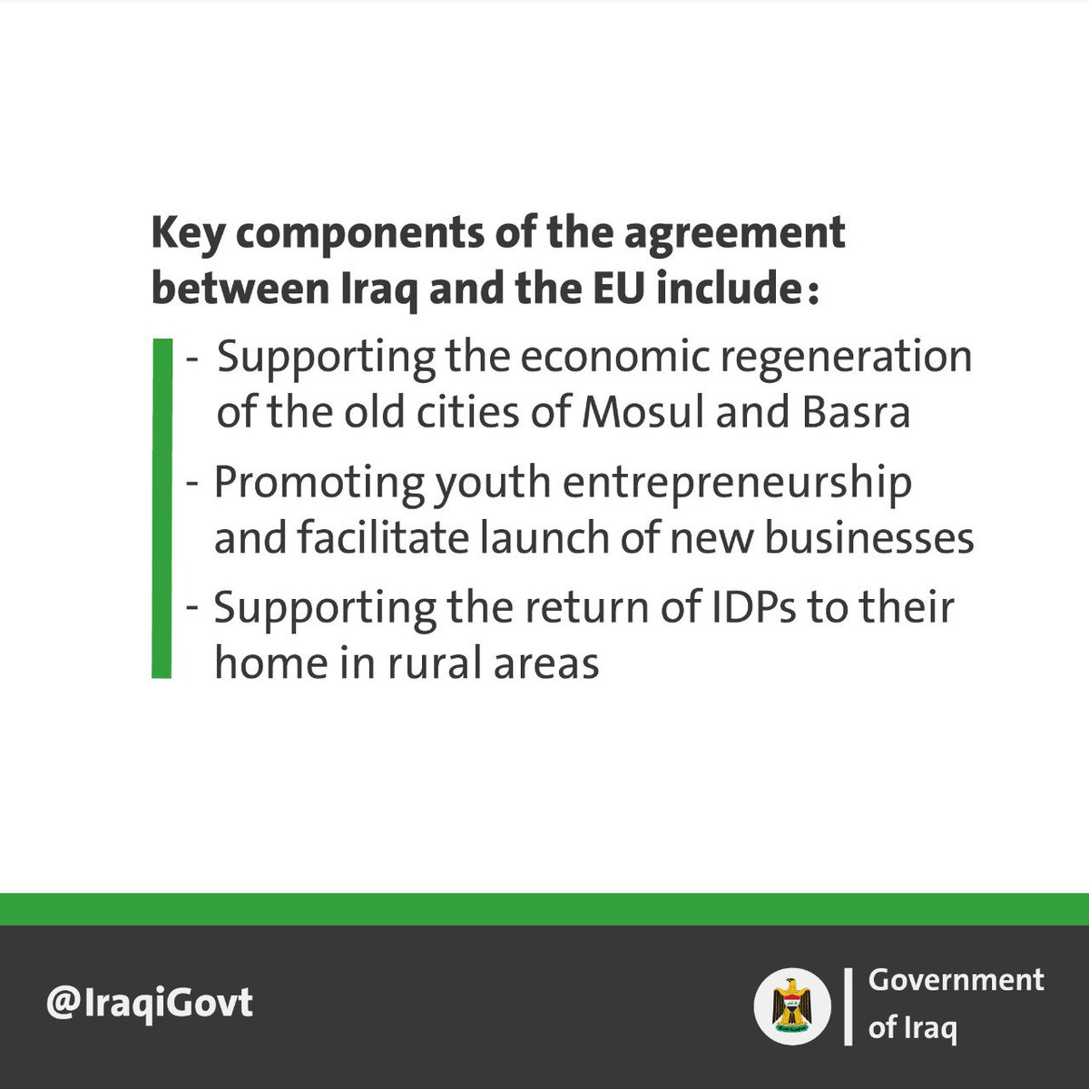The @IraqiGovt signs finance agreement with @EU_Commission to support social and economic development in several regions of Iraq, in partnership with @UNESCO and @FAO. Working with the Iraqi people and international partners, we will build a sustainable and fair economy for all.