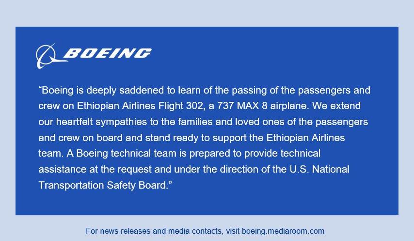 Boeing Statement on Ethiopian Airlines Flight 302: https://boeing.mediaroom.com/news-releases-statements?item=130401…