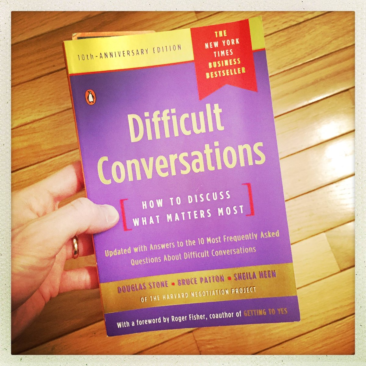 I finished reading &quot;Difficult Conversations: How to Discuss What Matters Most&quot; by Stone, Patton, &amp; Heen. Fantastic! I need to grow significantly in these principles. Highly recommended for anyone in business, ministry, or #leadership. #gls18 <br>http://pic.twitter.com/ySGXXlSaOK