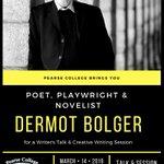 Image for the Tweet beginning: Join Dermot Bolger, novelist, poet