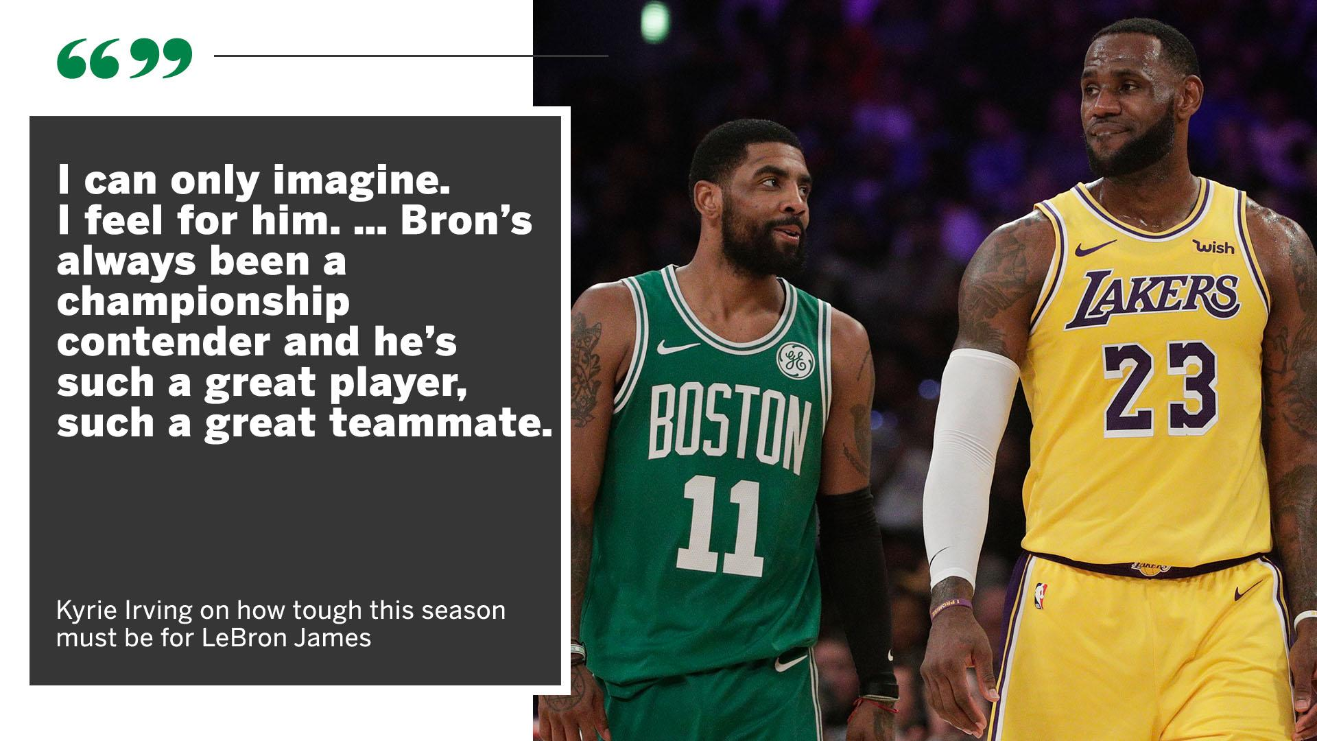 With the Lakers' playoff chances dwindling, Kyrie knows this season must be tough for his old teammate. https://t.co/b7MDXxTv6P