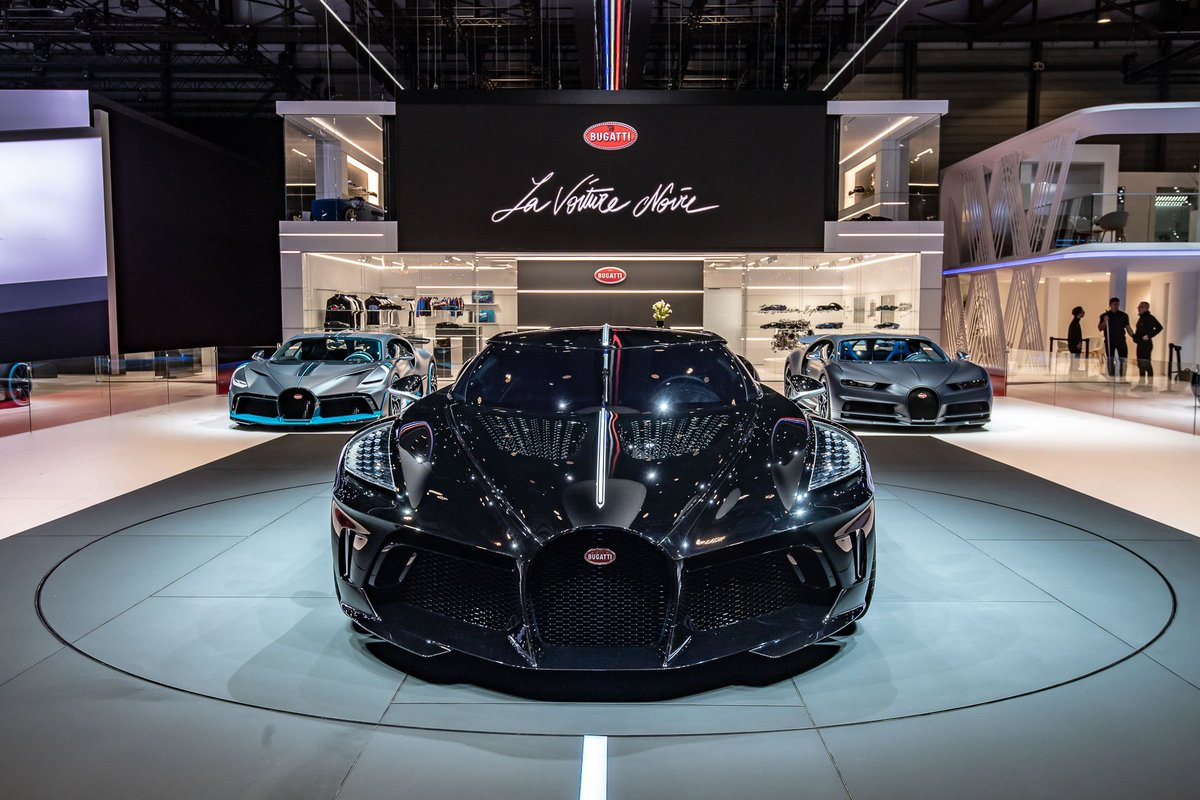At Geneva Motor Show Bugatti features a totally new stand concept with 3 unique hyper sports cars, its unrivaled 16 cylinder engine, highlights from its past and presence and an accessories collection honouring its 110th anniversary. #Bugatti #gimsswiss #Bugatti110Ans
