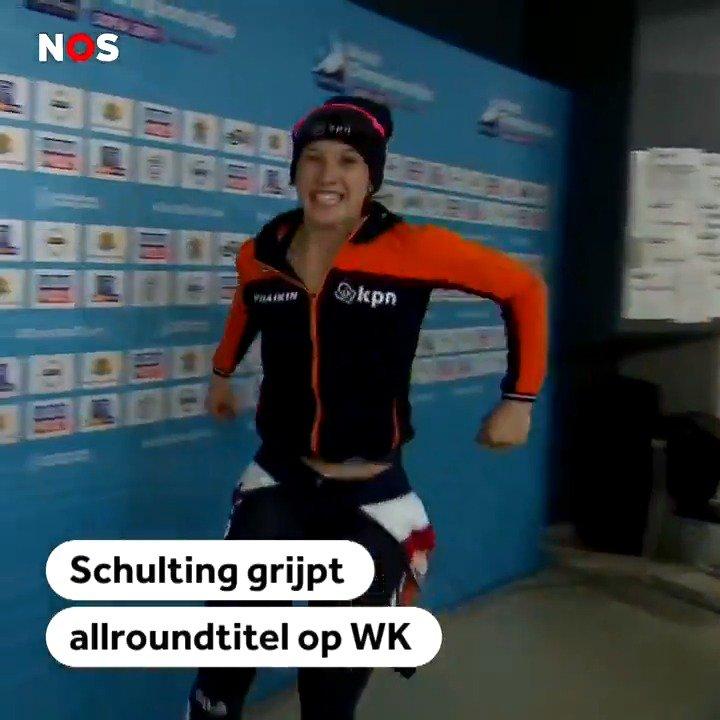 Suzanne Schulting dolblij na behalen allroundtitel WK Shorttrack